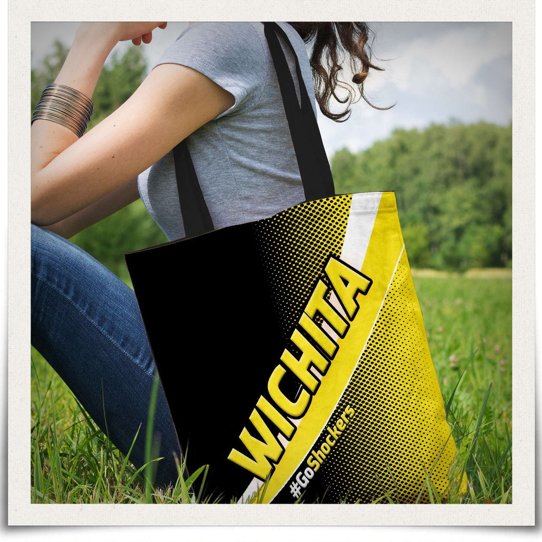 Designs by MyUtopia Shout Out:#GoShockers Wichita Fabric Totebag