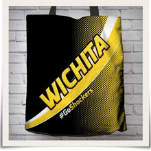 Load image into Gallery viewer, Designs by MyUtopia Shout Out:#GoShockers Wichita Fabric Totebag