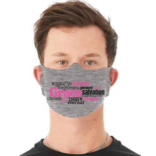 Designs by MyUtopia Shout Out:Grace Word Cloud Fabric Face Covering / Face Mask