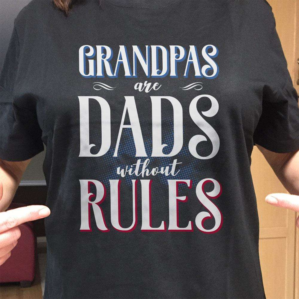 Designs by MyUtopia Shout Out:GrandPas Are Dads Without Rules Adult Unisex Cotton Short Sleeve T-Shirt