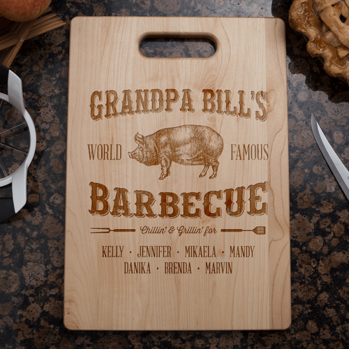 Designs by MyUtopia Shout Out:Grandpa's Barbecue Personalized Engraved Cutting Board