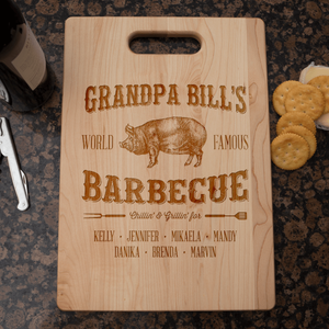 Designs by MyUtopia Shout Out:Grandpa's Barbecue Personalized Engraved Cutting Board,🌟  Best Value 9 3/4″ X 13.5″,Cutting Board