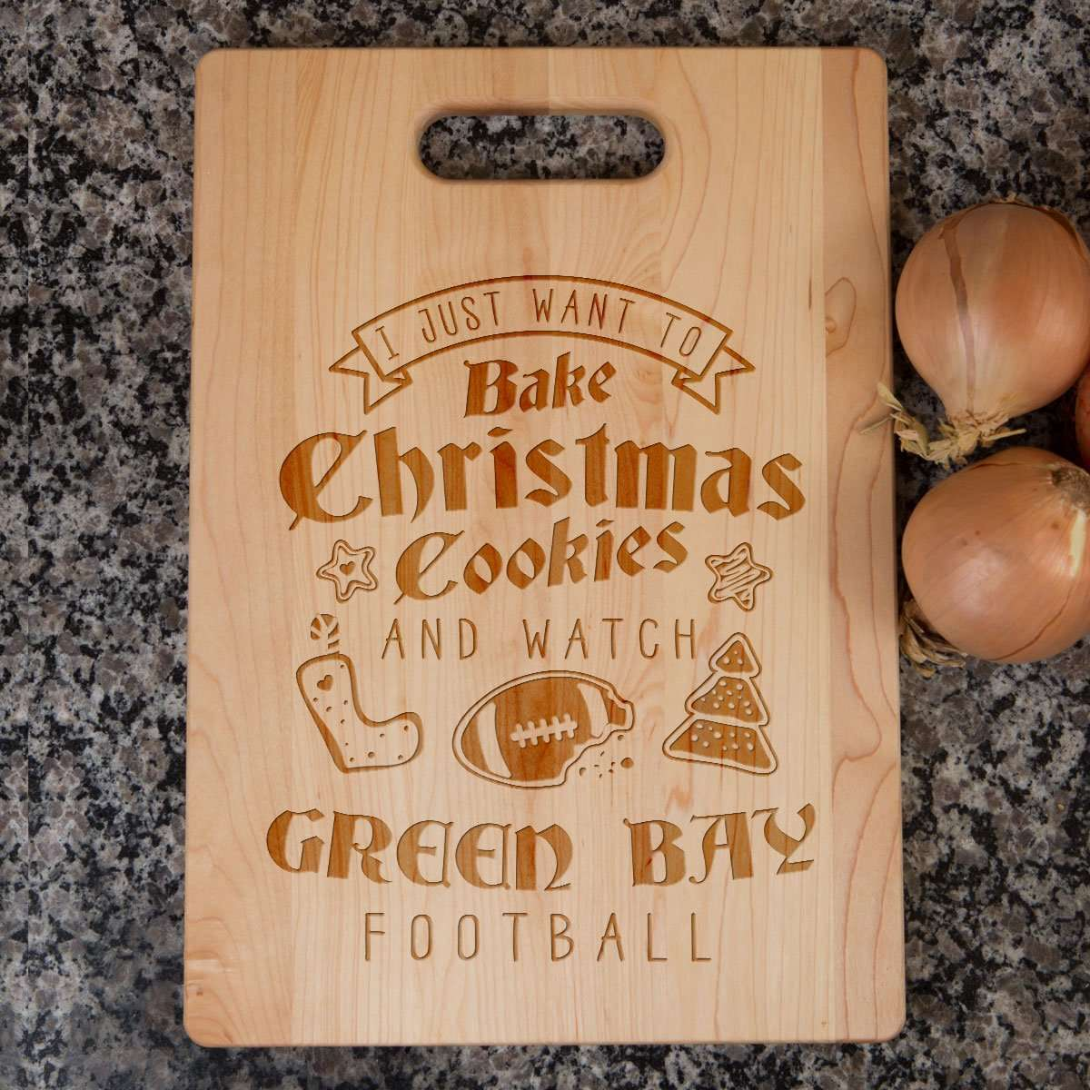 Designs by MyUtopia Shout Out:Green Bay Football Christmas Engraved Cutting Board,6″ X 9″ / Maple,Cutting Board