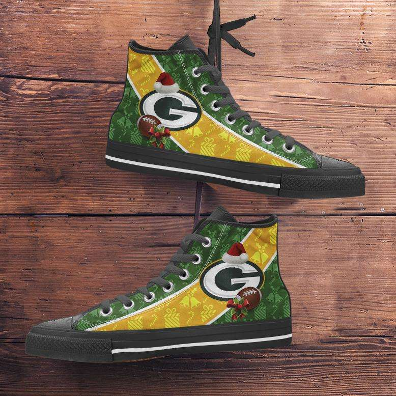 Designs by MyUtopia Shout Out:Green Bay Packers Christmas Football Pattern Canvas High Top Shoes - v2,Men's / Mens US 5 (EU38) / Green/Yellow,High Top Sneakers