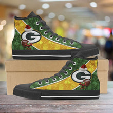 Load image into Gallery viewer, Designs by MyUtopia Shout Out:Green Bay Packers Christmas Football Pattern Canvas High Top Shoes - v2