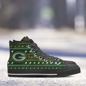 Designs by MyUtopia Shout Out:Green Bay Packers Ugly Christmas Style Canvas High Top Shoes