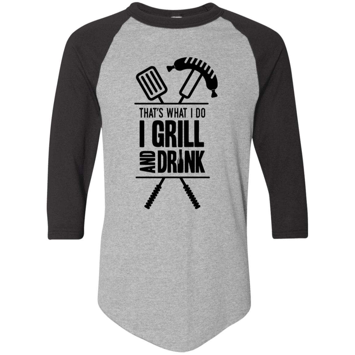 Designs by MyUtopia Shout Out:Grill and Drink 3/4 Length Sleeve Color block Raglan Jersey T-Shirt,Athletic Heather/Black / S,Adult Unisex T-Shirt