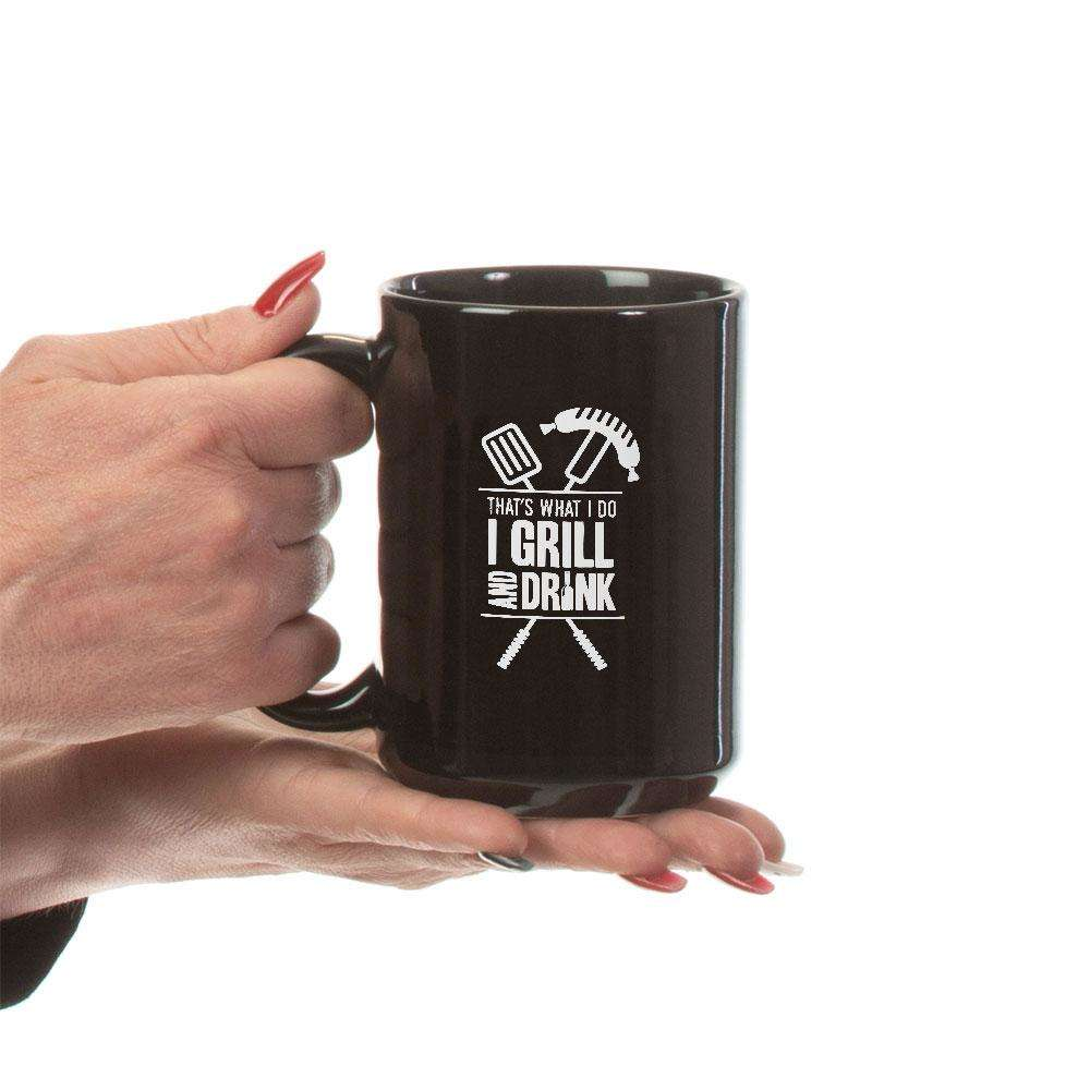 Designs by MyUtopia Shout Out:Grill and Drink Ceramic Coffee Mug - Black