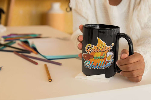 Designs by MyUtopia Shout Out:Grillin' and Chillin' Ceramic Coffee Mug - Black