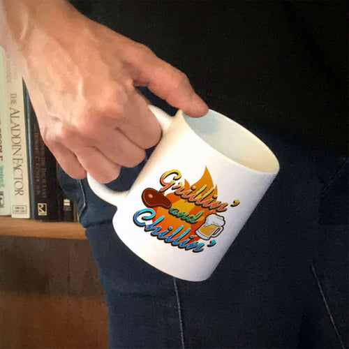 Designs by MyUtopia Shout Out:Grillin' and Chillin' Ceramic Coffee Mug - White