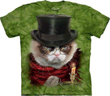 Load image into Gallery viewer, Designs by MyUtopia Shout Out:Grumpy Cat Does Christmas as Grumpenezer Scrooge Tee Shirt by the Mountain,Short Sleeve / Holiday Green / Small,Adult Unisex T-Shirt