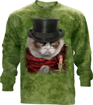 Designs by MyUtopia Shout Out:Grumpy Cat Does Christmas as Grumpenezer Scrooge Tee Shirt by the Mountain,Long Sleeve / Holiday Green / Small,Adult Unisex T-Shirt