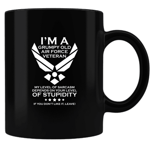 Designs by MyUtopia Shout Out:Grumpy Old Air Force Veteran Ceramic Coffee Mug - Black,Black,Ceramic Coffee Mug
