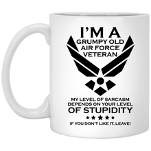 Load image into Gallery viewer, Designs by MyUtopia Shout Out:Grumpy Old Air Force Veteran Ceramic Coffee Mugs - White,11 oz / White,Ceramic Coffee Mug