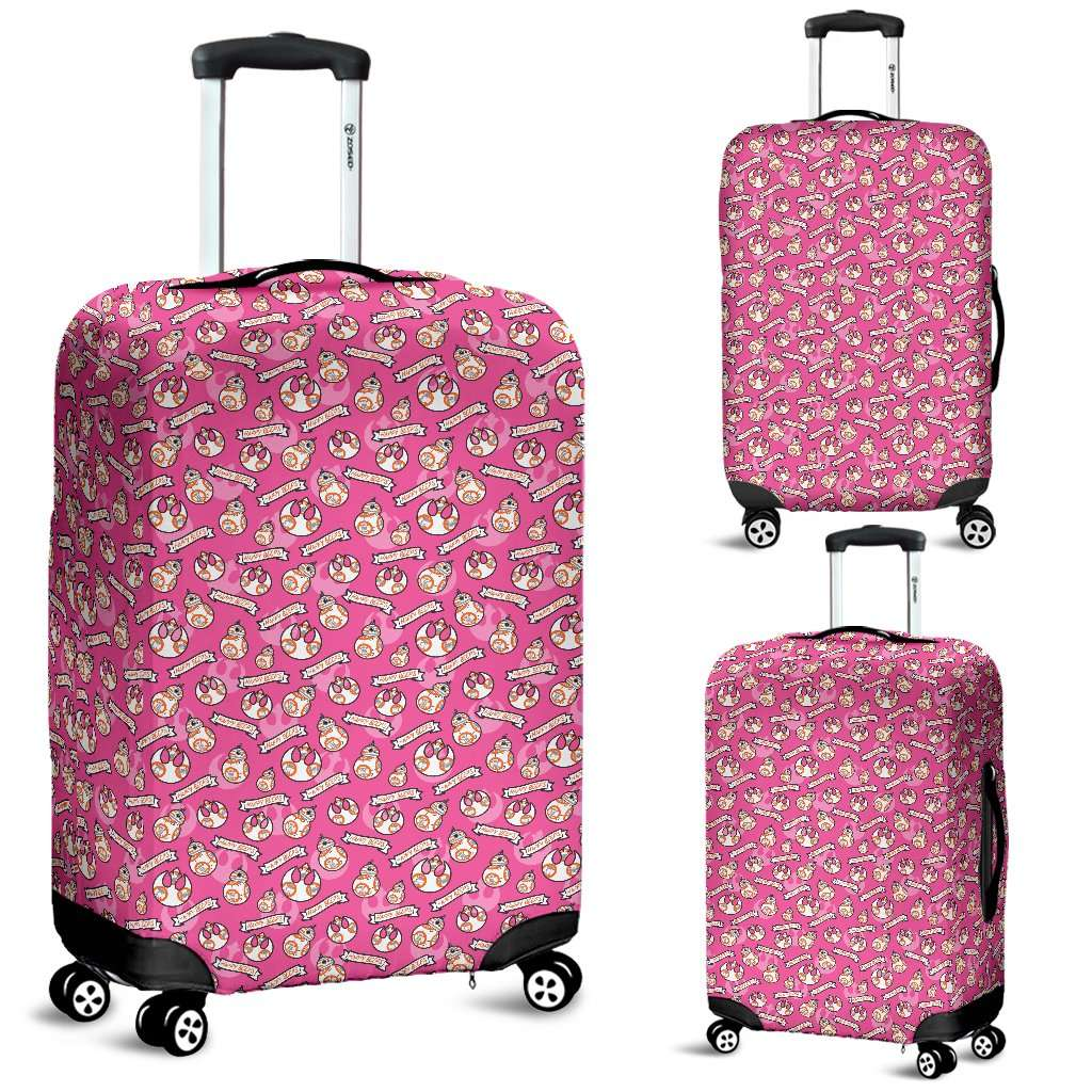 Designs by MyUtopia Shout Out:Happy Beeps BB-8 and Rebel Logos Luggage Cover Pink,Carry-on/Cabin/Small / Pink,Luggage Cover