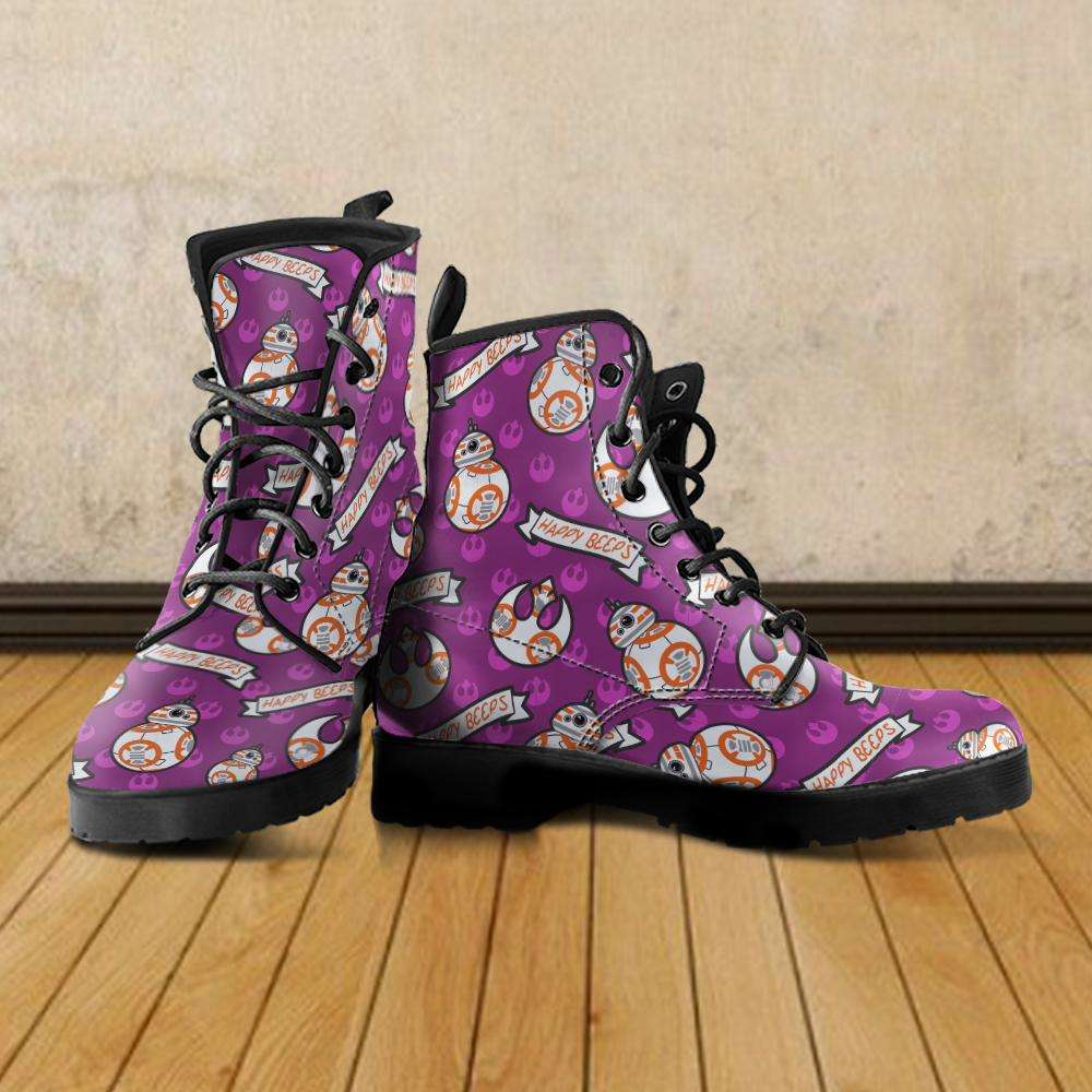 Designs by MyUtopia Shout Out:Happy Beeps BB-8 Faux Leather 7 Eye Lace-up Boots Purple,Men's / Mens US5 (EU38) / Bright Pink,Lace-up Boots
