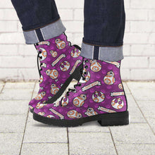 Load image into Gallery viewer, Designs by MyUtopia Shout Out:Happy Beeps BB-8 Faux Leather 7 Eye Lace-up Boots Purple