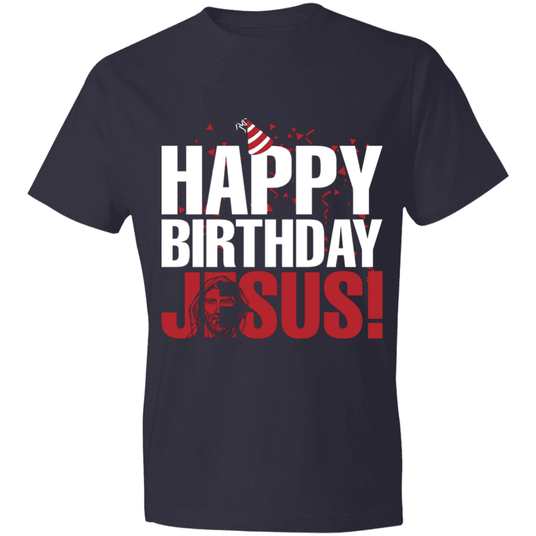 Designs by MyUtopia Shout Out:Happy Birthday Jesus - Lightweight Unisex T-Shirt,Navy / S,Adult Unisex T-Shirt