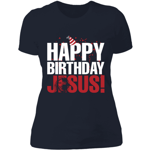 Designs by MyUtopia Shout Out:Happy Birthday Jesus - Ultra Cotton Ladies' T-Shirt,Midnight Navy / X-Small,Ladies T-Shirts