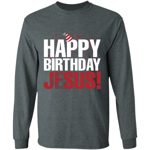 Designs by MyUtopia Shout Out:Happy Birthday Jesus - Ultra Cotton Long Sleeve T-Shirt,Dark Heather / S,Long Sleeve T-Shirts