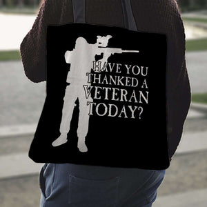 Designs by MyUtopia Shout Out:Have You Thanked A Veteran Today? Fabric Totebag Reusable Shopping Tote