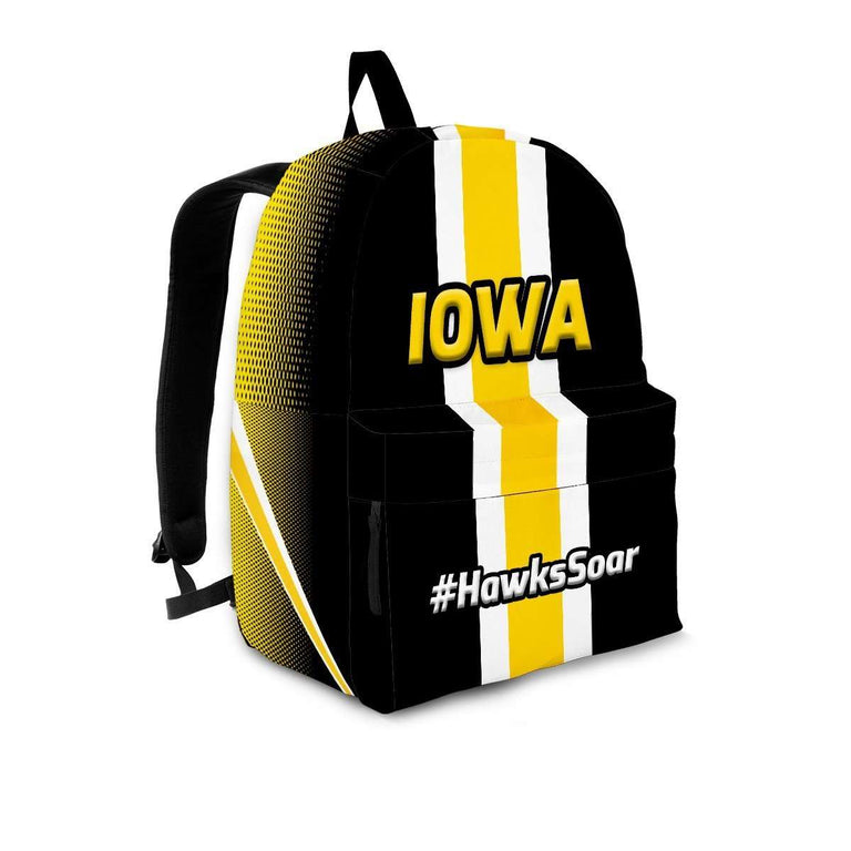 Designs by MyUtopia Shout Out:#HawksSoar Iowa Backpack,Large (18 x 14 x 8 inches) / Adult (Ages 13+) / Black/Yellow/White,Backpacks