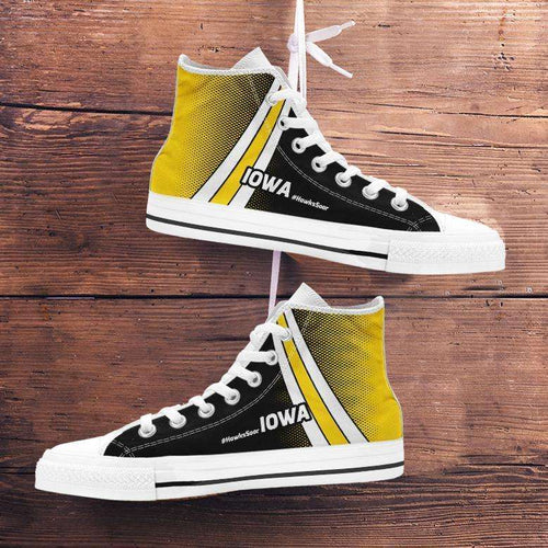 Designs by MyUtopia Shout Out:#HawksSoar Iowa Canvas High Top Shoes,Men's / Mens US 5 (EU38) / Black/Yellow,High Top Sneakers