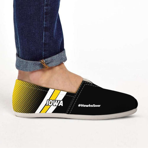 Designs by MyUtopia Shout Out:#HawksSoar Iowa Casual Canvas Slip on Shoes Women's Flats,US6 (EU36) / Black/Yellow,Slip on Flats