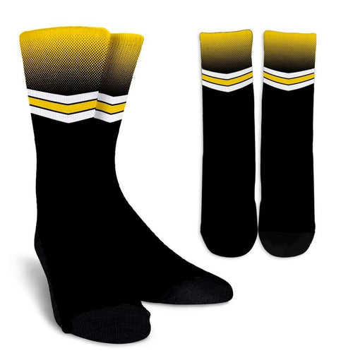 Designs by MyUtopia Shout Out:#HawksSoar Iowa Crew Socks,Small/Medium / Black,Socks