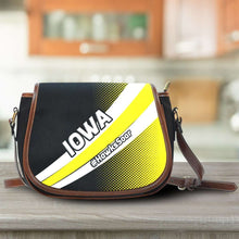 Load image into Gallery viewer, Designs by MyUtopia Shout Out:#HawksSoar Iowa Fan Canvas Saddlebag Style Crossbody Purse