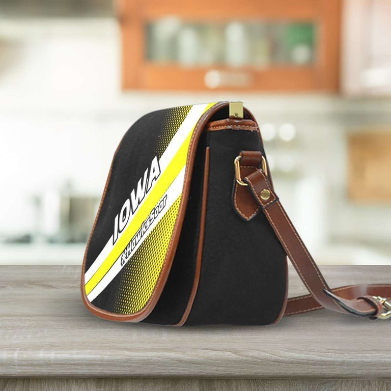 Designs by MyUtopia Shout Out:#HawksSoar Iowa Fan Canvas Saddlebag Style Crossbody Purse