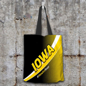 Designs by MyUtopia Shout Out:#HawksSoar Iowa Fan Fabric Totebag Reusable Shopping Tote