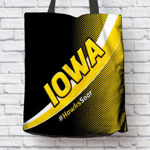 Load image into Gallery viewer, Designs by MyUtopia Shout Out:#HawksSoar Iowa Fan Fabric Totebag Reusable Shopping Tote