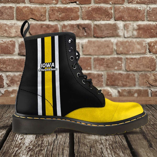 Designs by MyUtopia Shout Out:#HawksSoar Iowa Fan Faux Leather 7 Eye Lace-up Boots,Men's / Mens US5 (EU38) / Black/Yellow,Lace-up Boots