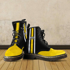 Designs by MyUtopia Shout Out:#HawksSoar Iowa Fan Faux Leather 7 Eye Lace-up Boots