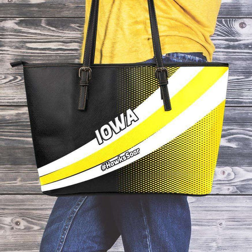 Designs by MyUtopia Shout Out:#HawksSoar Iowa Fan Faux Leather Totebag Purse,Medium (10 x 16 x 5) / Black/White/Yellow,tote bag purse