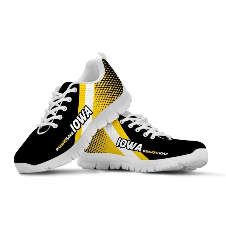 Designs by MyUtopia Shout Out:#HawksSoar Iowa Fan Running Shoes,Mens US5 (EU38) / White/Yellow/Black,Running Shoes