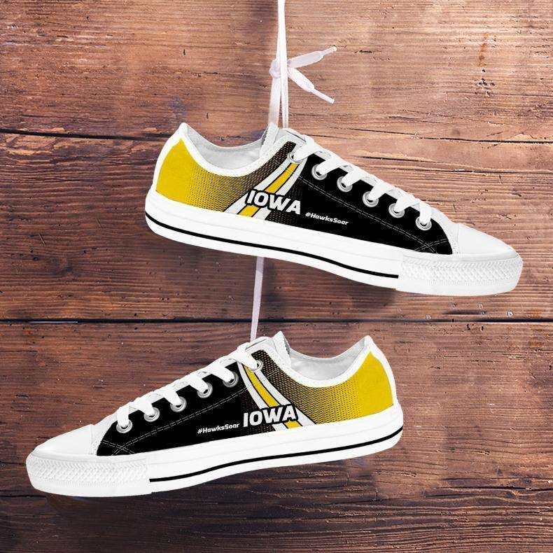 Designs by MyUtopia Shout Out:#HawksSoar Iowa Lowtop Shoes,Men's / Mens US5 (EU38) / White/Yellow/Black,Lowtop Shoes