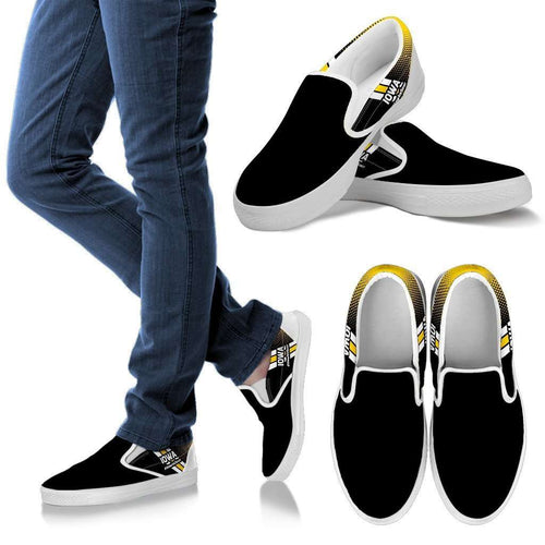 Designs by MyUtopia Shout Out:#HawksSoar Iowa Slip-on Shoes,Men's / Mens US8 (EU40) / Black,Slip on sneakers