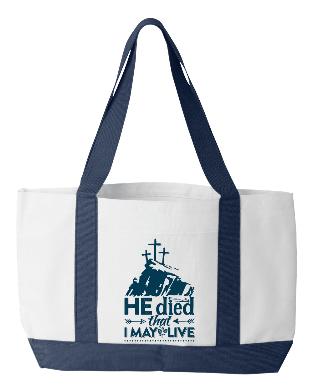 Designs by MyUtopia Shout Out:He Died That I May Live Canvas Totebag Gym / Beach / Pool Gear Bag,Default Title,Gym Totebag