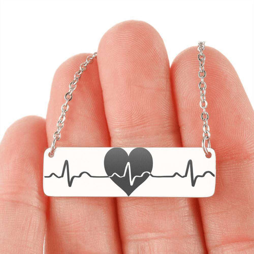 Designs by MyUtopia Shout Out:Heart and Heart Beat Engraved Personalizable Horizontal Bar Necklace,316L Stainless Steel / No,Necklace