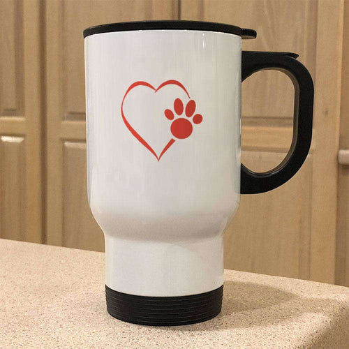 Designs by MyUtopia Shout Out:Heart Dog Paw 14 oz Stainless Steel Travel Coffee Mug w. Twist Close Lid