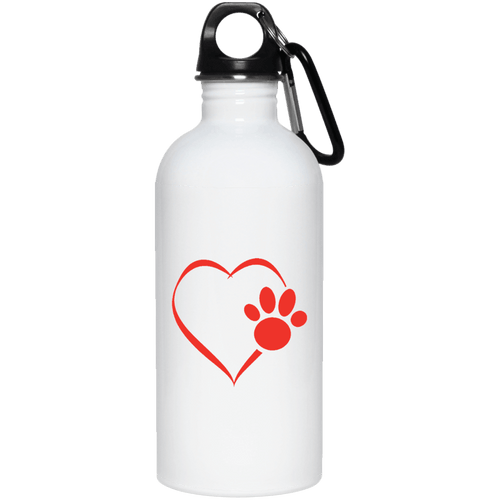 Designs by MyUtopia Shout Out:Heart Dog Paw 20 oz. Stainless Steel Water Bottle,White / One Size,Water Bottles
