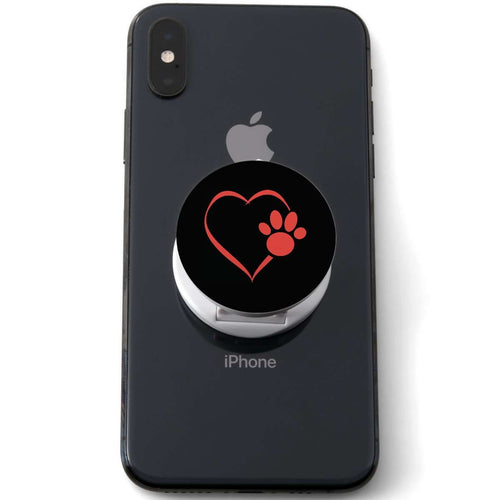 Designs by MyUtopia Shout Out:Heart Dog Paw (Black) Hinged Phone Grip and Stand for Smartphones and Tablets