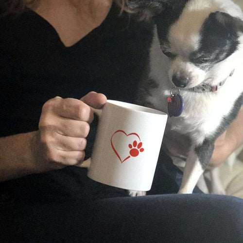Designs by MyUtopia Shout Out:Heart Dog Paw Ceramic Coffee Mug - White