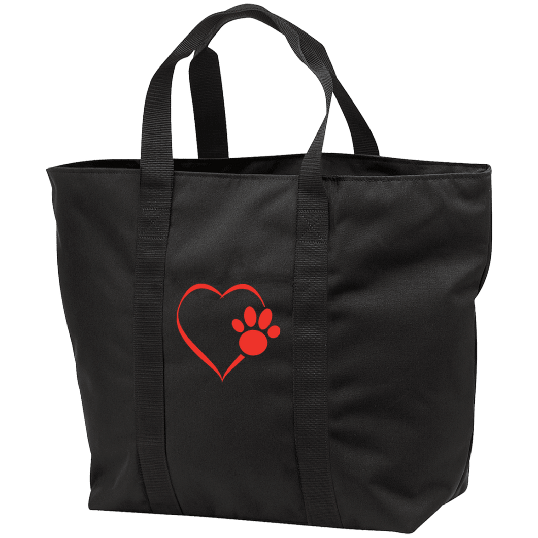 Designs by MyUtopia Shout Out:Heart Dog Paw Embroidered All Purpose Tote Bag w Zipper Closure and side pocket,Black/Black / One Size,Totebag