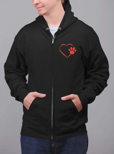 Designs by MyUtopia Shout Out:Heart Dog Paw Embroidered Lightweight Full Zip Hoodie