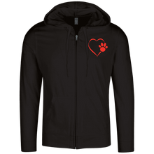 Load image into Gallery viewer, Designs by MyUtopia Shout Out:Heart Dog Paw Embroidered Lightweight Full Zip Hoodie,Black / X-Small,Sweatshirts