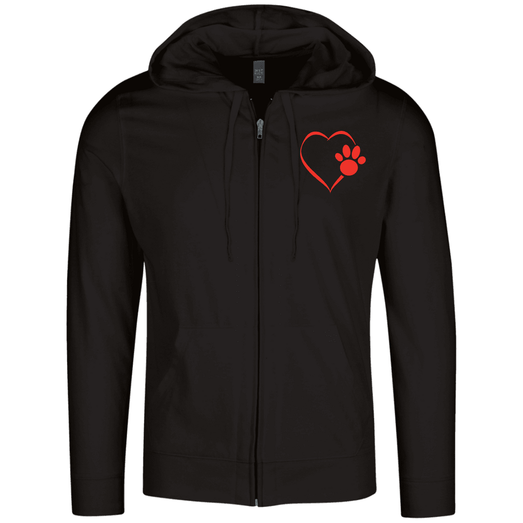 Designs by MyUtopia Shout Out:Heart Dog Paw Embroidered Lightweight Full Zip Hoodie,Black / X-Small,Sweatshirts