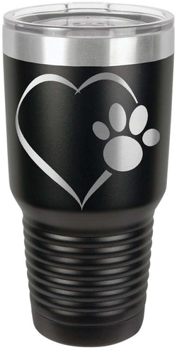 Designs by MyUtopia Shout Out:Heart Dog Paw Engraved Stainless Steel Insulated Double Wall 30oz Tumbler Premium Travel Mug,Black / 30 Oz,Polar Camel Tumbler